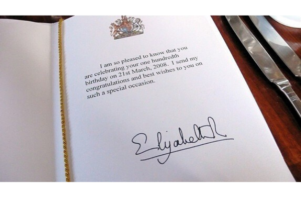 100th Birthday Card from the Queen